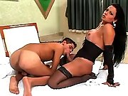 Blonde tranny crazy drilled on sofa
