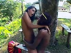 Two trannies fuck in the back yard