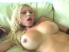 Blond shemale masturbate on sofa