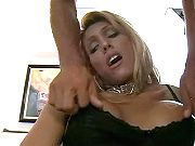 Hot blond tranny gets anal pleasure