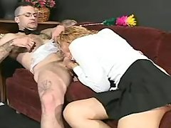 Blonde transsexual maid rides cock