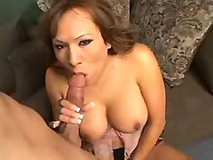 Sensual busty shemale sucking boss
