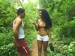 Two men n shemale jizzing in forest