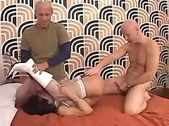 Tgirl gets facial in threesome orgy