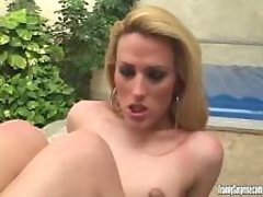 Beautiful blonde shemale cockrides