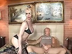 Nice blonde shemale tempts bald man