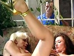 Girl rides trannys dick n blows guy