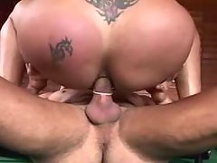 Tgirl gets fucked on billiard table