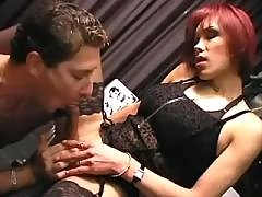 Office tranny cums and gets cumload