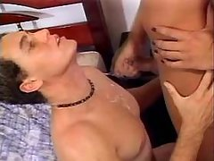 Shemale jizzing and getting facial