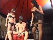 Shemale and slave girl dominate guy