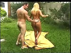 Guy and blond ts have fun outdoors
