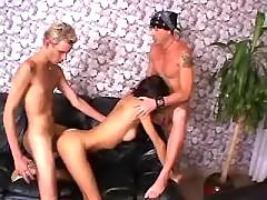 Brunette shemale seduces young guys