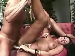 Shemale and guy fuck girl and jizz