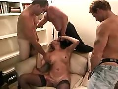 Tgirl gets n gives blowjobs in orgy