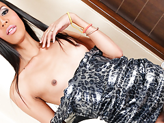 Lustful transsexual Nicole, strips and strokes her intense cock