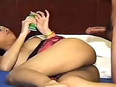 Lovely Thai shemale takes it in ass