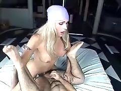 Tranny fucks poor dude in tight ass