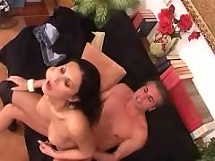 Horny freak sucks big shemales cock